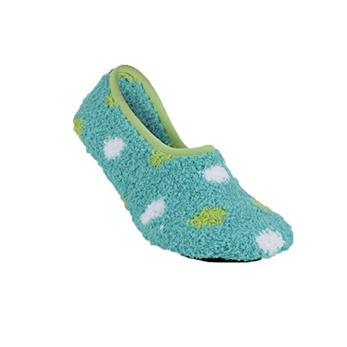 Turquoise Dot - Worlds Softest Cozy Collection Womens Slipper - Turquoise with Green and White Dots (Small)