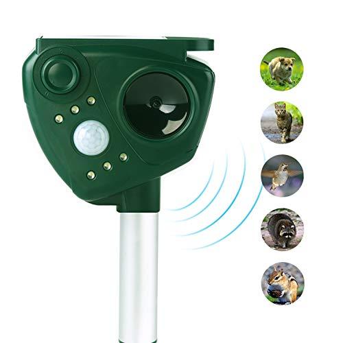 Animal Pest Repeller, Solar Powered Ultrasonic Pest Repellent, Outdoor Waterproof Pest Control,Motion Activated LED Lights Repels Raccoons, Cats and Dogs, Squirrels, Foxes, Skunks, Rabbit,etc.