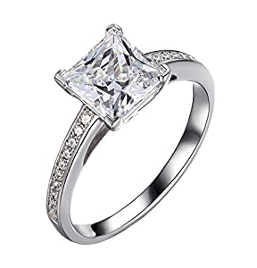 Enhanced Diamond(VS) Princess Grace 2.40Ct Wedding Ring Simulated CVD Coated Diamond 14k White Gold for Engagement Promise Anniversary