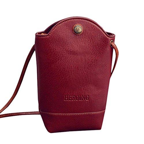 Bovake Femme Sac à Main, Mode Square Bandoulière Sac de Téléphone Portable Rouge