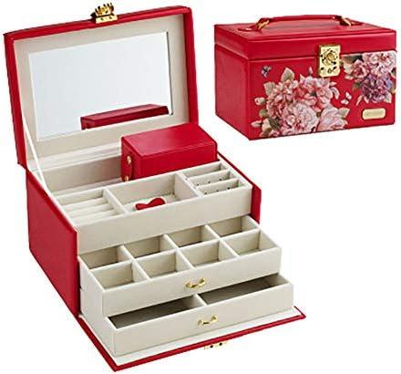 ジュエリーボックス、ジュエリーオーガナイザー、引き出し付き、携帯用トラベルケース、指輪、イヤリング、ネックレス、ベルベットの裏地(赤)