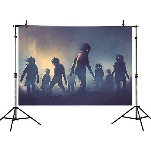 Allenjoy 7x5ft Polyester Zombie Theme Photography Backdrop Halloween Background Return of The Living Dead Game Live Video Studio Photo Booth (Washable) -