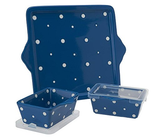 Temp-tations Set of 2 Mini (20oz) Loaf Pans & Square Serving Tray/Cookie Sheet (Polka Dot Blue)