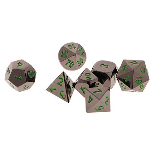 Jili Online 7x Polyhedral Board Game Toy For Dungeons Dragons TRPG DND D4-D20 Dice Green by Jili Online