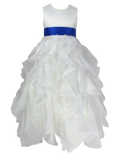 Occasion Flower Girl Dress in Ivory & Royal Blue Sash (I1119RB 8#)