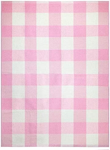 Farmhouse Buffalo Check Plaid Rug 36×48 Large Pink Colored Outdoor Rug Buffalo Plaid Front Door Mat Front Porch Rug Outside Rugs Best Layered Under Welcome Doormat Farmhouse Kitchen Rugs