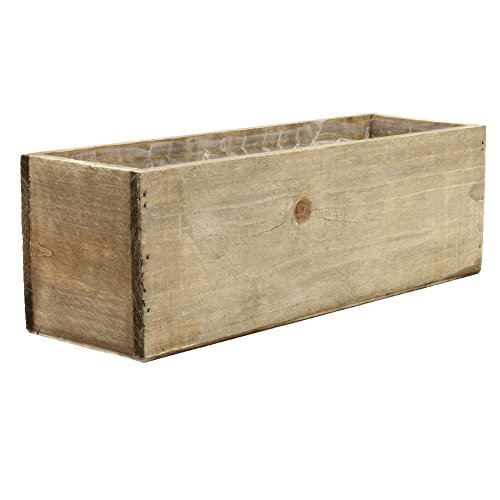 Koyal Wholesale Rectangle Shabby Chic Wood Vase (Pack of 4), 12 by 4