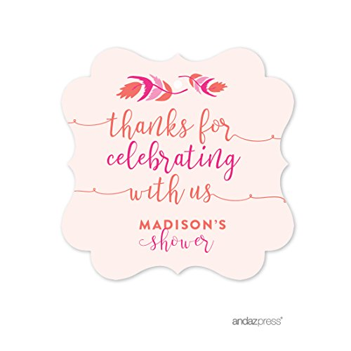Andaz Press Tribal Bohemian Warrior Princess Pink Girl Baby Shower Collection, Personalized Fancy Frame Gift Tags, Thank You for Celebrating With Us, 24-Pack, Chloe's Bridal Shower Custom (Princess Gift Tags)