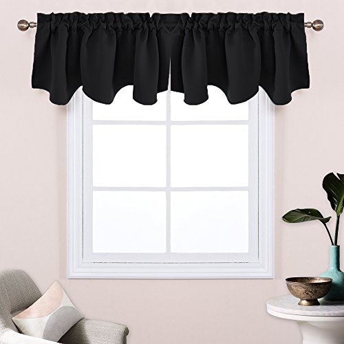 oped Curtain Valances - Rod Pocket Blackout Scalloped Valances Curtain Panels for Bathroom / Laundry by PONY DANCE,52