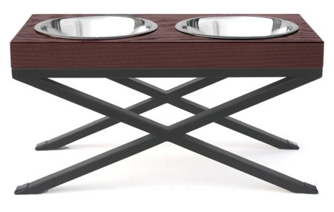 Woodsman Double Bowl Diner - Elevated Dog Bowl - 12'' Tall by NMN Products