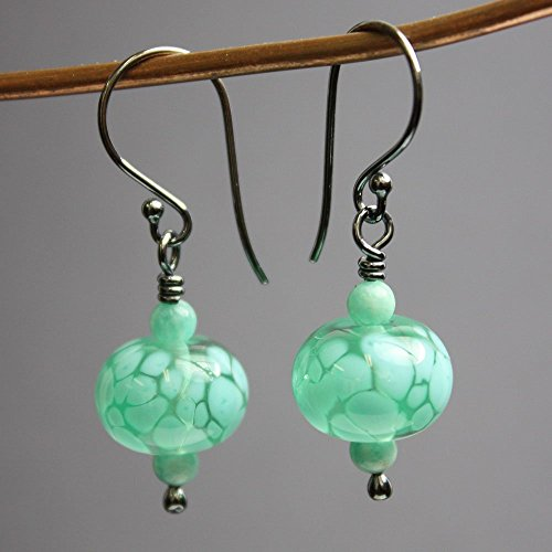Artisan Lampwork Earrings (Green Lampwork Earrings with Amazonite and Sterling Silver Ear Wires)