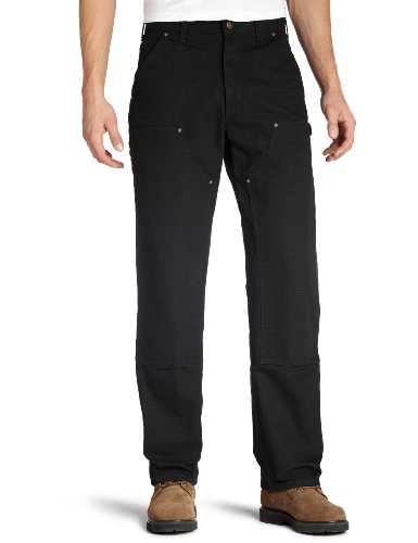 Carhartt Jeans Canvas (Carhartt Men's Double Front Work Dungaree Washed Duck,Black,42 x 34)