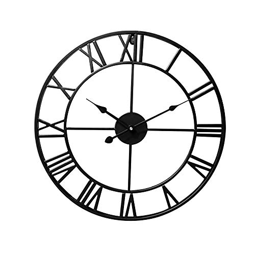 """Lucky Monet 16"""" Large Roman Numeral Wall Clock Retro Vintage Round Wall Clock Open Face Mute for Indoor Outdoor Home Décor Office Living Room Café Bar (Black)"""