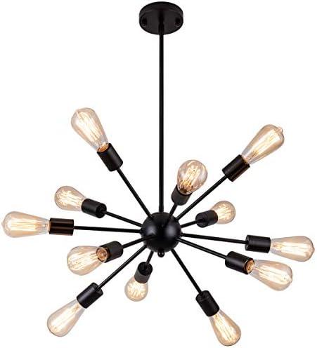 Weesalife Sputnik Chandeliers Antique 12-Lights Mid Century Pendant Lighting Matte Black Industrial Retro Adjustable Hanging Light Fixture