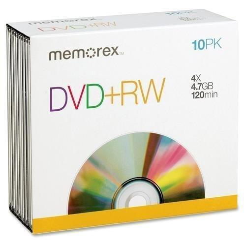 05509 Memorex DVD Rewritable Media - DVD+RW - 4x - 4.70 GB - 10 Pack Slim Jewel Case - 120mm - 2 Hour Maximum Recording Time