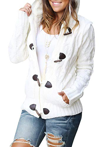 Sidefeel Women Button Up Cardigan Hooded Sweater Coat Outwear with Pockets X-Large - Jackets Maternity Coats