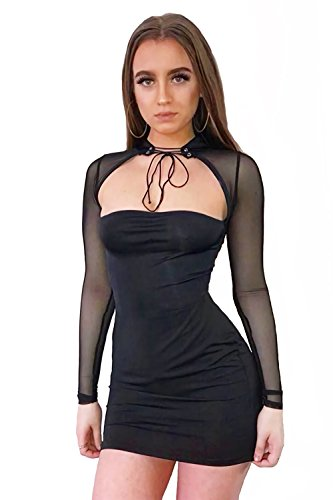 Limtery Women's Sexy Choker Bandage Strapless Mesh Long Sleeves Bodycon Dress (Large, (Mesh Strapless Dress)