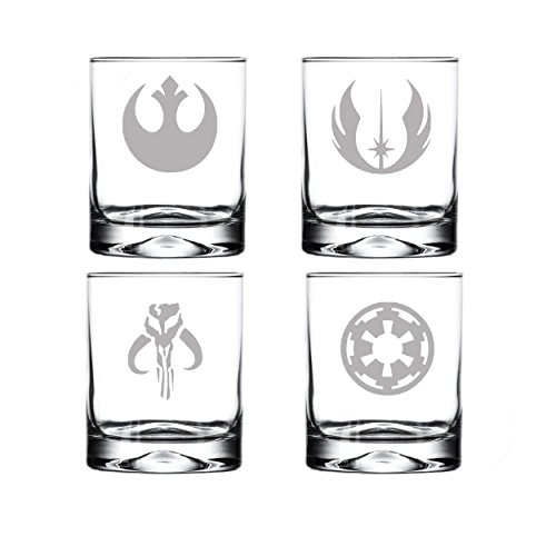 SW Drinking Glass Set of Four Etched Rocks Whiskey Glasses: Mandalorian, Jedi Order, Rebel Alliance, Galactic Empire
