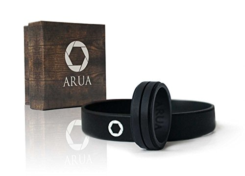 ARUA Silicone Wedding Ring for Men. Comfortable and Durable Rubber Wedding Band for Sports, Gym, Outdoors - 2mm thick - Silicone Wristband Included (Black, Size 11 (20.6 mm diameter))