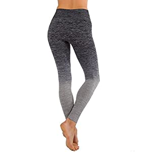 Homma Ultimate Stretch Comfort Moisture Whicking Women's Ombre Yoga Running Workout Leggings (SMALL, Black/L.Grey)