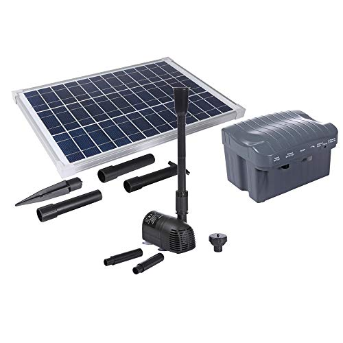 solariver Solar Water Pump Kit with Battery Backup - 400+GPH Submersible Pump and 20 Watt Solar Panel for Sun Powered Fountain, Waterfall, Pond Aeration, Hydroponics, Aquarium, Aquaculture -