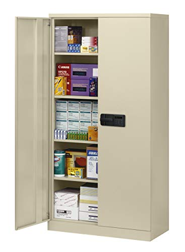 Sandusky Lee KDE7824-07 Putty Steel SnapIt Storage Cabinet, 4 Adjustable Shelves, Keyless Electronic Coded Lock, Powder Coat Finish, 78