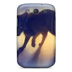 Case Cover Black Fox With Butterfly/ Fashionable Case For Galaxy S3