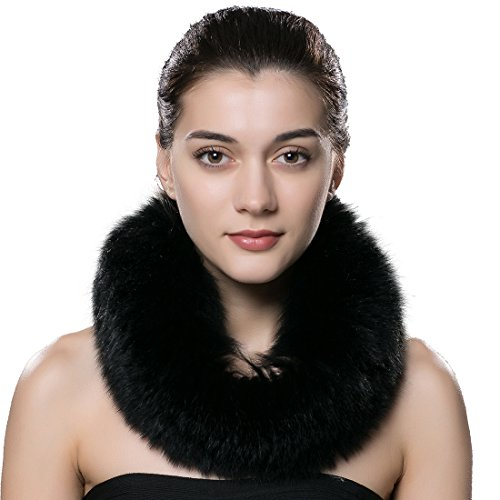 One Skein Scarf - URSFUR Women's Winter Warm Neck Fur Scarf Real Fox Collar Fur Cowl Black