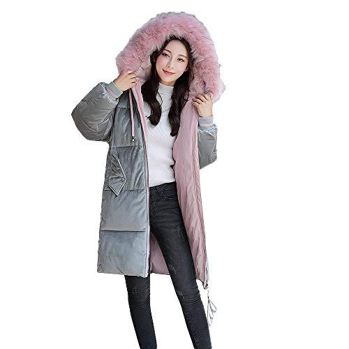 Cotone Moonuy Slim Parka Pelliccia Cappuccio Velluto Giacche Di Jacket Capispalla A Da Piumino Con Donna Coste Cappotto Invernale Lungo EFqTB8cwn