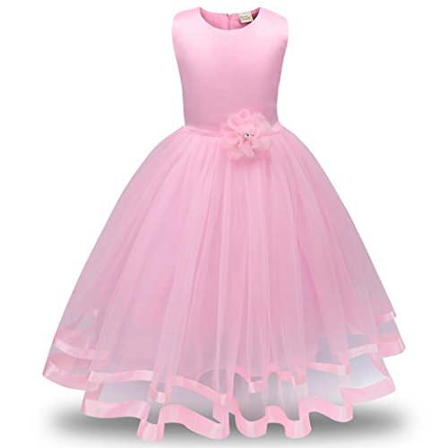 Forthery Girl Dress, Kids Sleeveless Lace Flower Tutu Tulle Party Princess Dresses