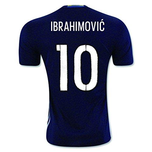 Black #10 Ibrahimovic Away Match Football Soccer Adult Jersey EURO 2016