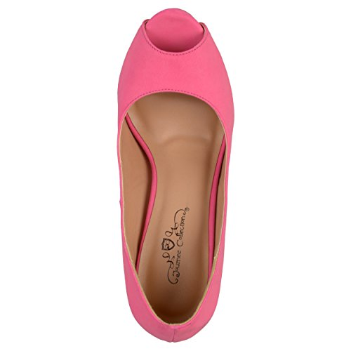 Journee Collection Womens Round Toe Platform Pumps Hot Pink Suede Peep Toe 6nb7g