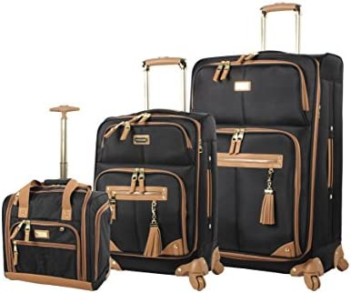Steve Madden Designer Luggage Collection- 3 Piece Softside Expandable Lightweight Spinner Suitcases- Travel Set includes Under Seat Bag, 20-Inch Carry on 28-Inch Checked Suitcase Harlo Black