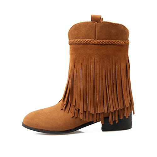 avec Fourrure Bottines Femmes pour UH Chaud Plates Rond Chaussures Frange Bout L'hiver Indiennes Talons avec 2017 PvqBEqdw