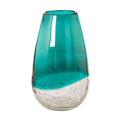 - Glitzhome Crackle Glass Flower Vase Hand Blown Two Tone Art Vase 9.06 Inch (Turquoise#2)