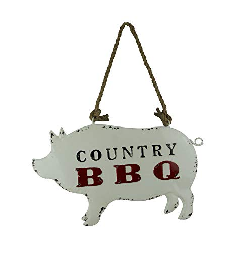 Audrey's Weathered White Metal Country BBQ Pig Shaped Hanging Sign