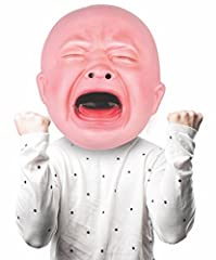 Our new BigMouth Inc Gigantic Crying Baby Mask is 20 inches across-letting you make a hilarious stink about anything. The comfy stretch band (on the back side) fits virtually any size head, and ample padding lets you wear it far beyond the fi...