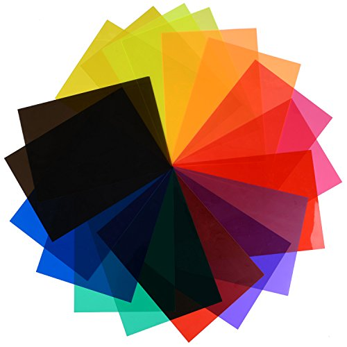 eBoot 18 Pieces Correction Gel Light Filter Transparent Color Lighting Film Plastic Sheets, 11.7 by 8.3 Inches, 9 Colors (Lens Plastic Video)