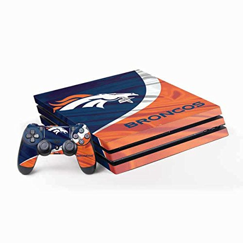 Skinit NFL Denver Broncos PS4 Pro Bundle Skin - Denver Broncos Design - Ultra Thin, Lightweight Vinyl Decal Protection