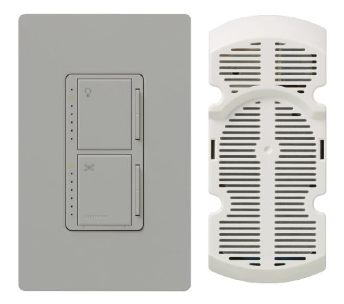 Lutron MA-LFQHW-GR Maestro 300-Watt Single-Pole Digital Dimmer 1-Amp Quiet 7-Speed Fan Control with Wall plate, Gray