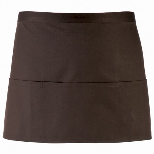 Premier Workwear PR155 Colours 3 Pocket Waist Apron Brown by Premier Workwear