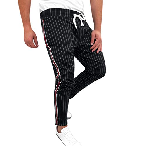 RAINED-Mens Jogger Track Pants Casual Striped Drawstring Sweatpants Athletic Hip Hop Pants Quick Dry Harem Pants Black
