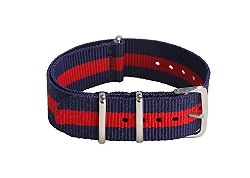 Red Stripes Watch - 22mm Nylon Watch Band Brushed Rings Stripe Fabric Diving Watch Strap - Blue/Red
