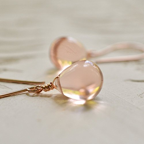(Blush glass drop earrings 14kt rose)