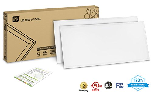 2-PACK ASD LED Panel 2x4 Dimmable Edge-Lit Flat 40W 3500K 4200 lm- UL Listed DLC Certified 120 Lm/W by ASD