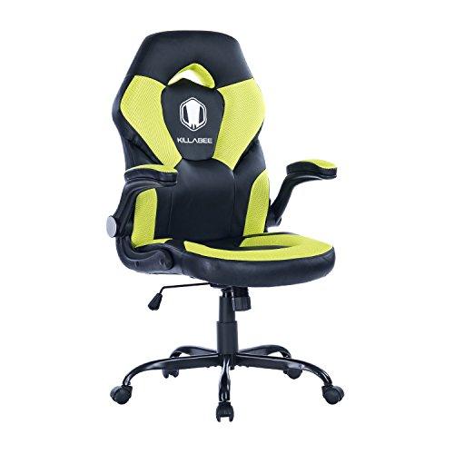 KILLABEE Racing Style Gaming Chair Flip-Up Arms - Ergonomic Leather & Mesh Computer Desk Office Chair, Green & Black by KILLABEE