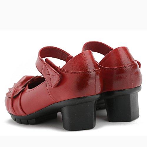L@YC Mujeres Leatherette Oficina y carrera Vestido Casual Chunky High Heel Otros / Rojo / Marrón / Negro Red