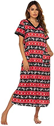 Ekouaer Women's Long Nightgown Short Sleeve Pajama Nightshirts Sleepwear with Pockets