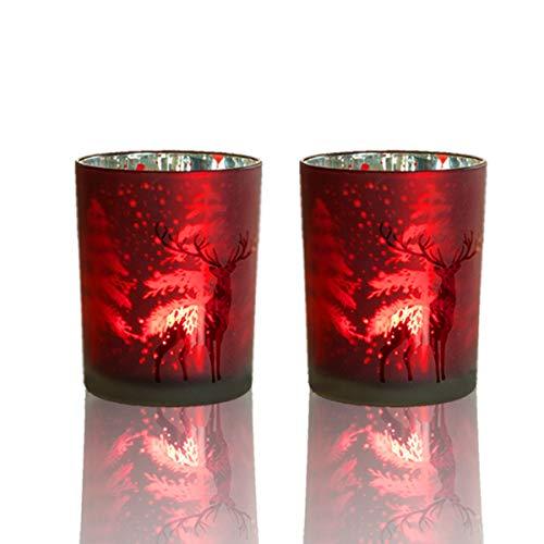 lEPECQ Christmas Votive Candle Holder, Christmas Tealight Candle Holder 3.14 H - Reindeer Candle Holders (Set of 2) - Red Christmas Home Decor