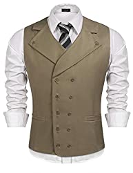 Men Double Breasted Slim Fit Waistcoat